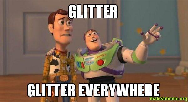 Glitter överallt