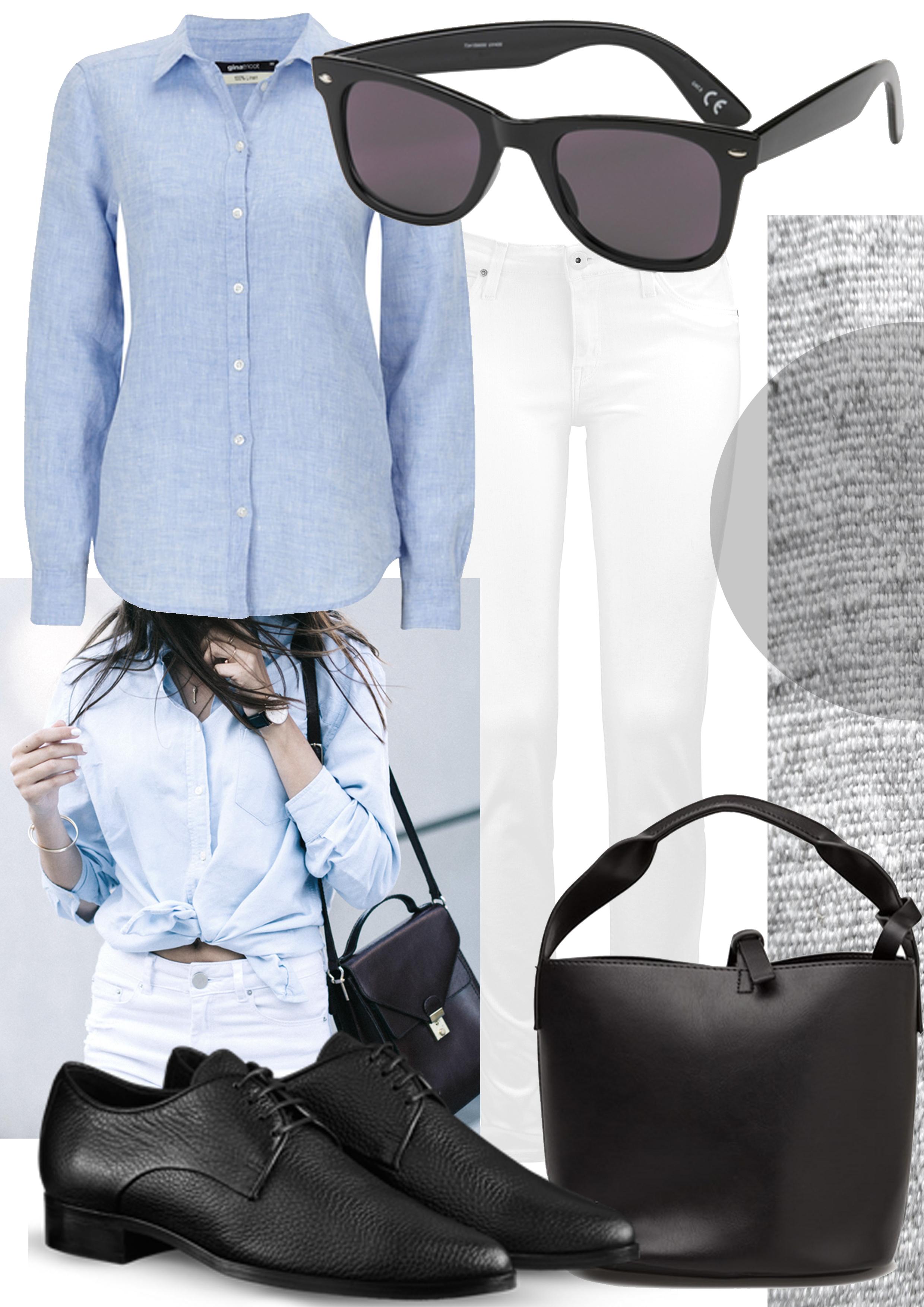 blå vita jeans