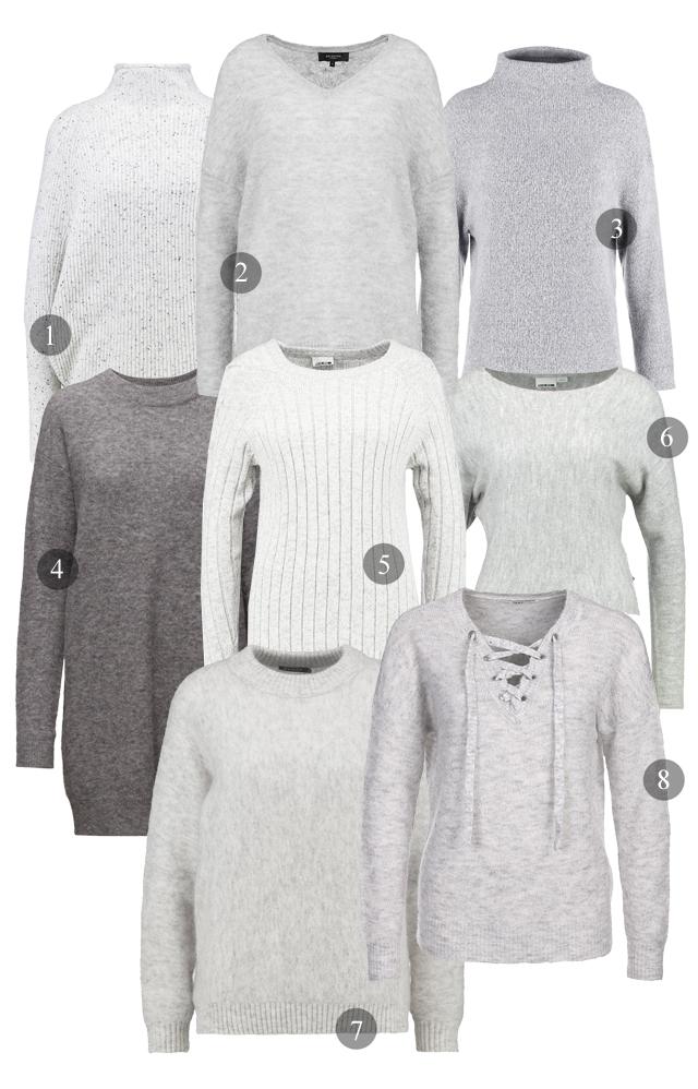 grå stickade tröjor