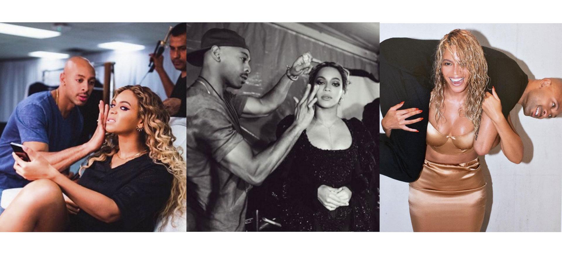 Beyoncé och hennes makeup-artist Sir John
