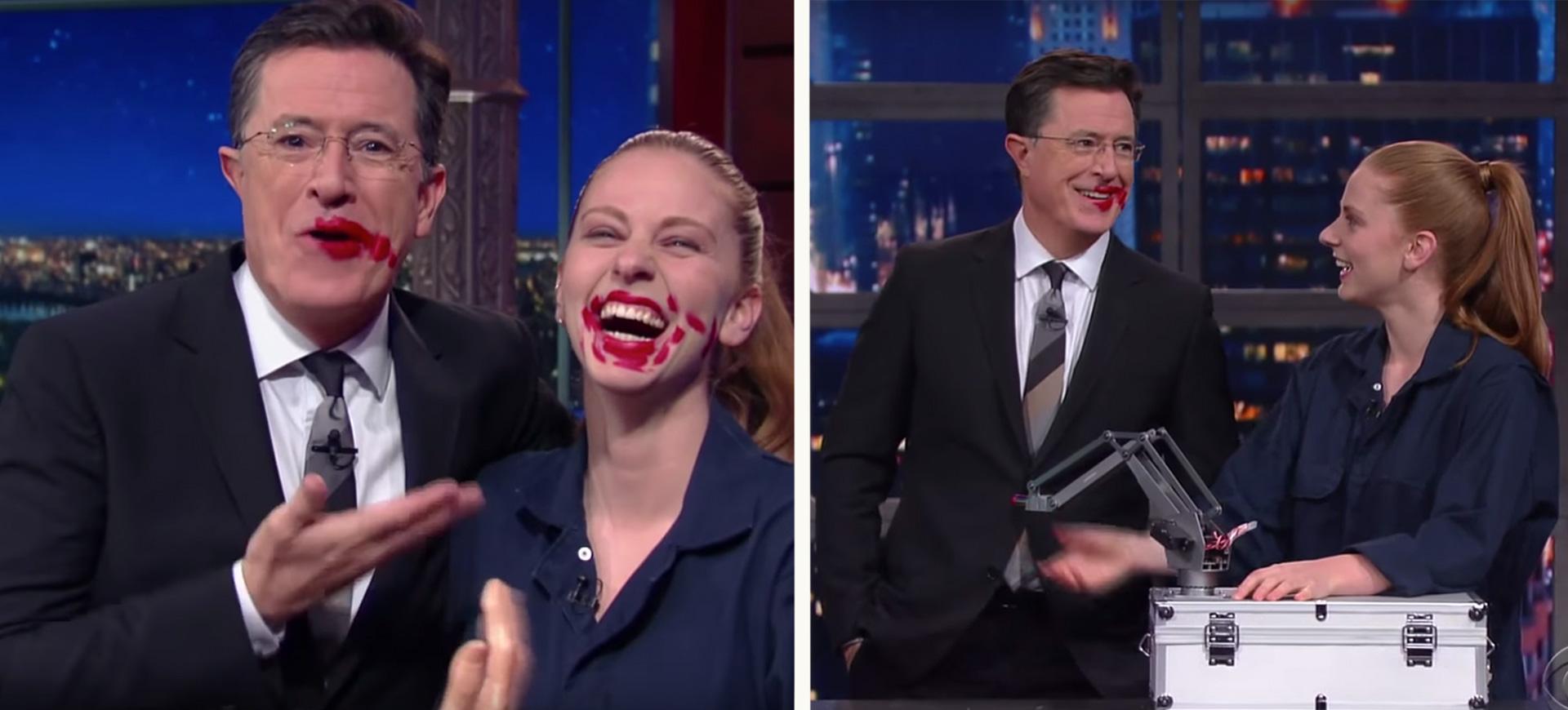 Här gör svenska robotuppfinnaren Simone Giertz succé hos Stephen Colbert!