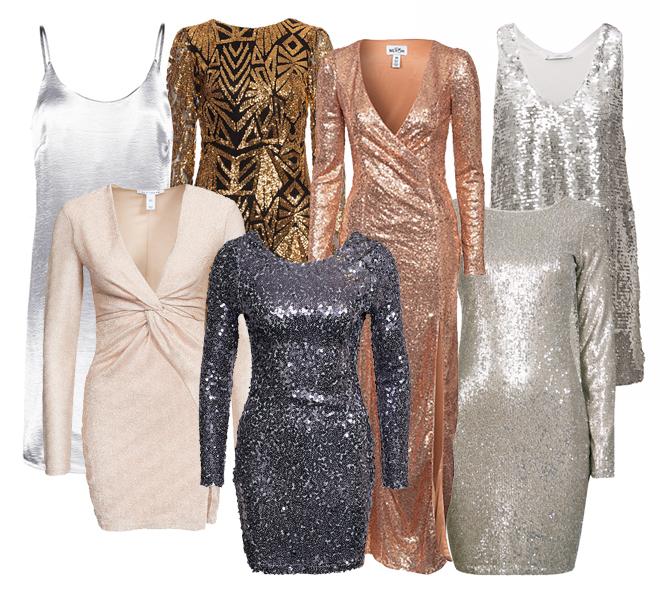 glittrig långärmad klänning