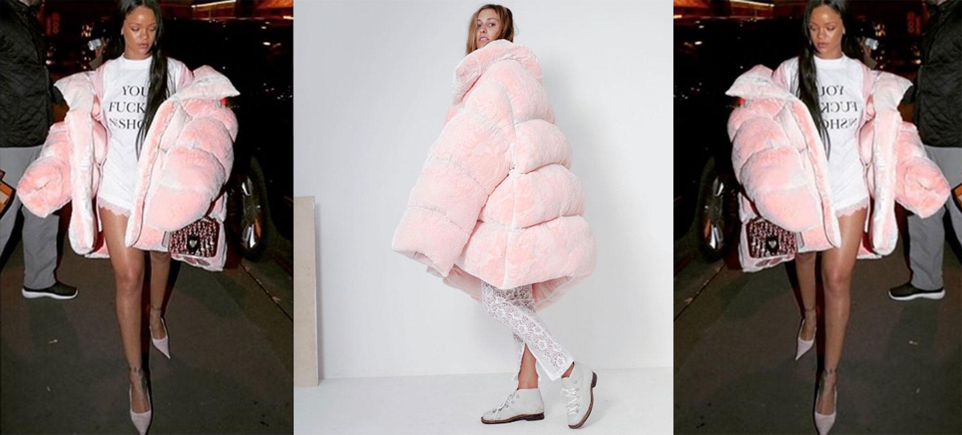 Rihanna rosa fluffig dunjacka från Ella Boucht