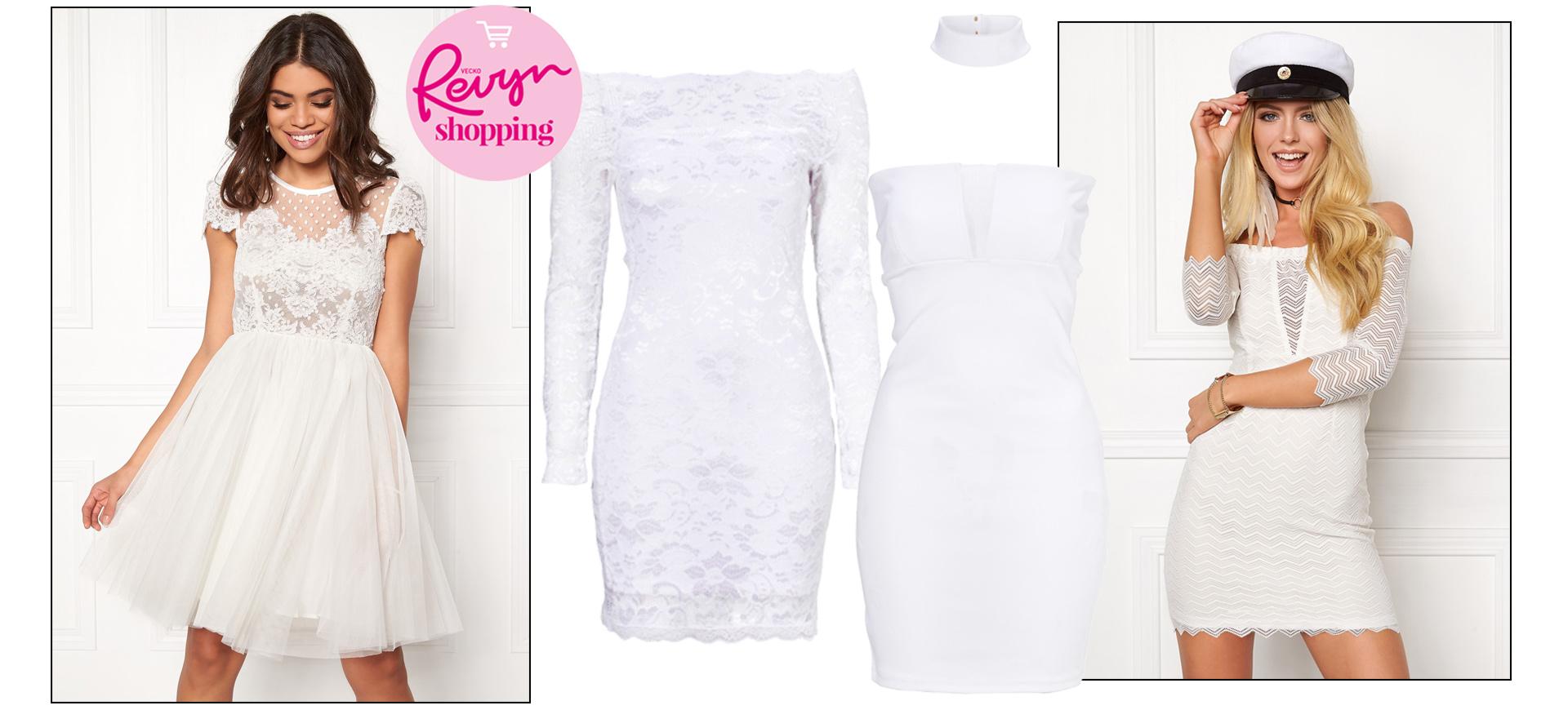 Vit klänning i spets eller vit långklänning är fin till sommaren och studenten.