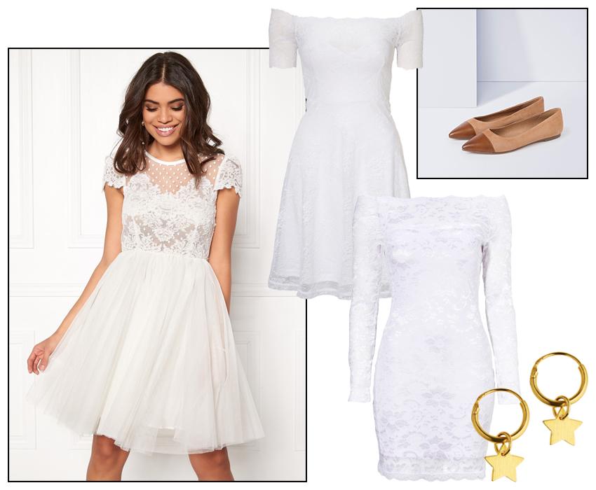 Vit klänning i spets för student eller fest.