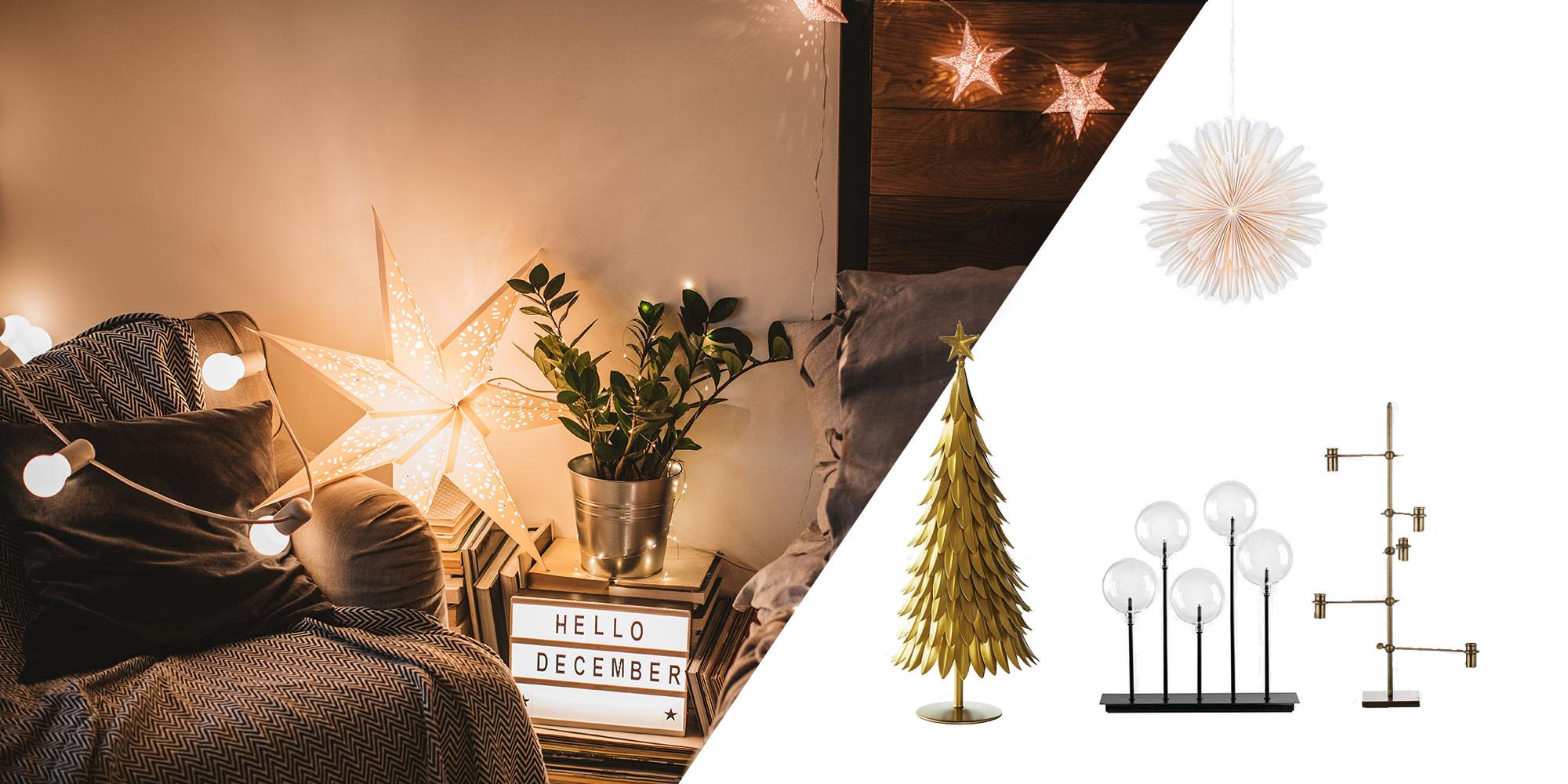juldekorationer julstjarnor adventsljusstakar