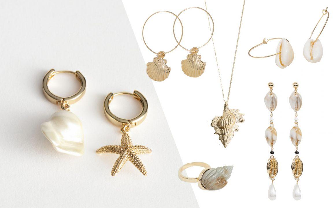 smycke snäckor ring halsband armband örhängen