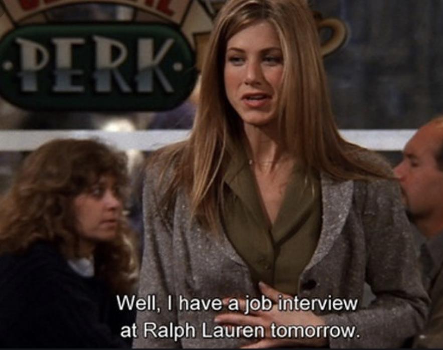Rachel Green får en jobbintervju med Ralph Lauren