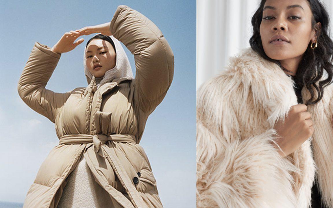 Vinterjacka för dam i puffmodell och fuskpäls