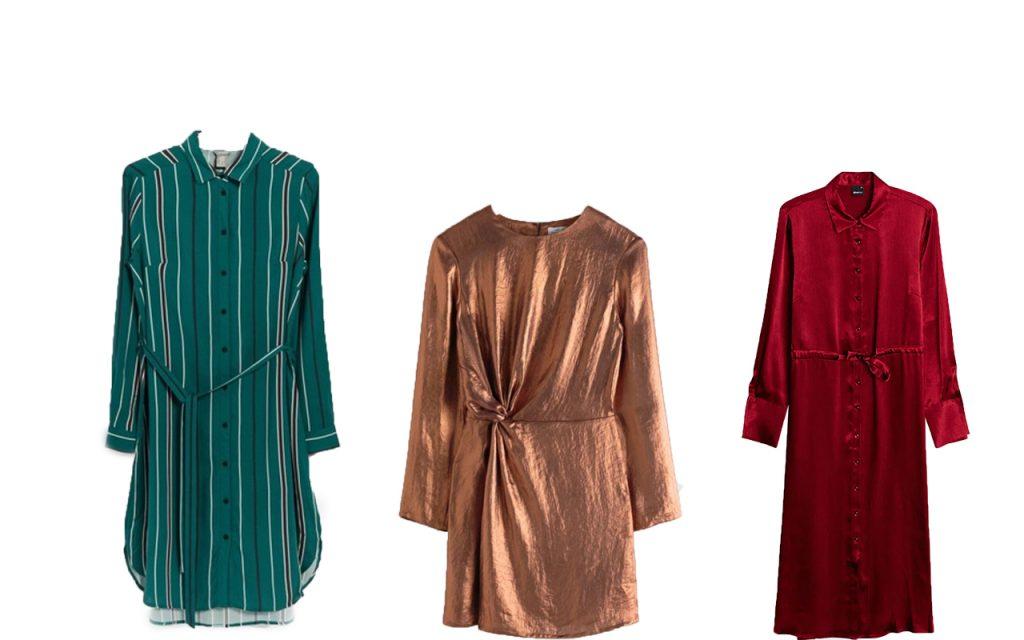 Röd, grön och guldfärgad julklänning för dam