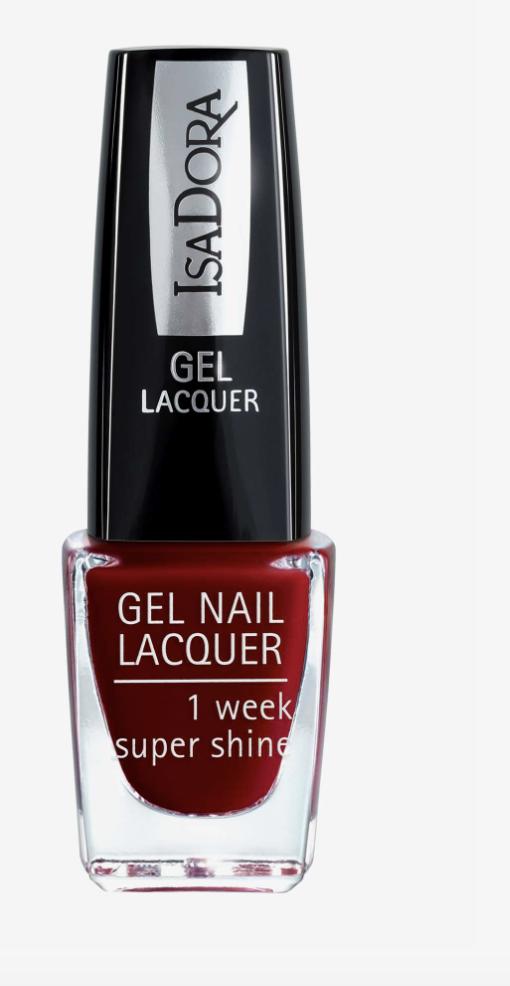 Få röda naglar med glitter