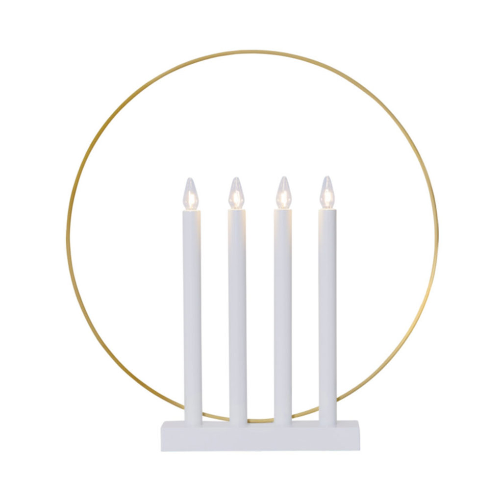 vit ljusstake med gulddetaljer