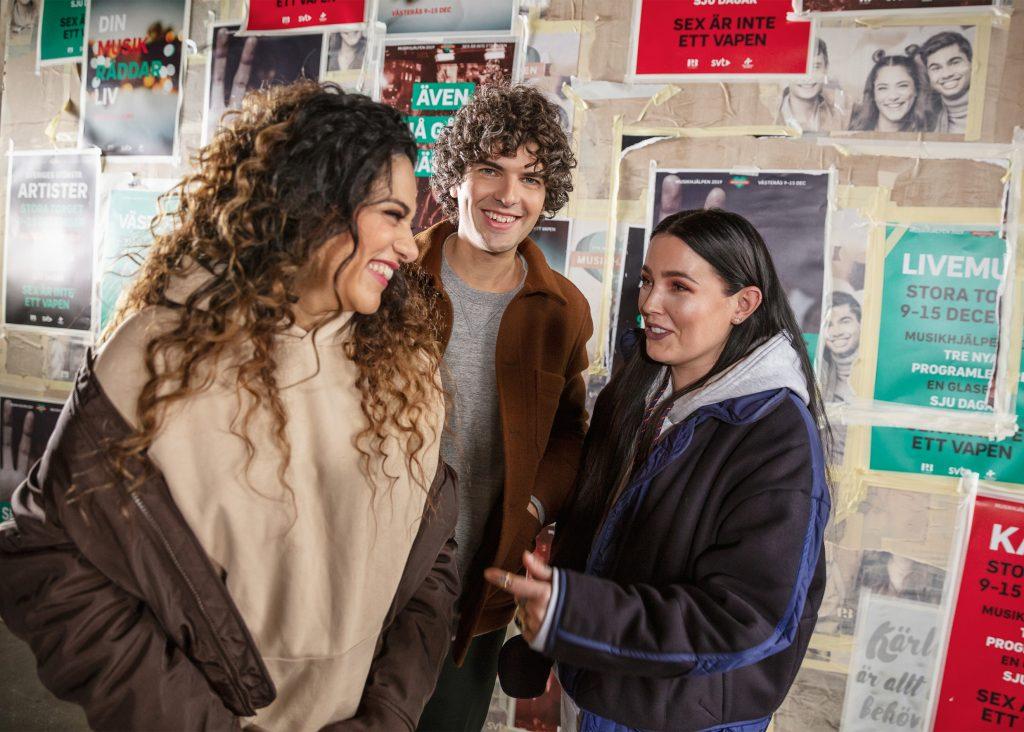 Farah Abadi, Daniel Hallberg och Miriam Bryant är programledare för Musikhjälpen 2019