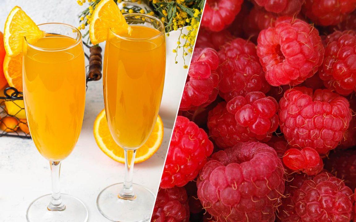 Mimosa recept med apelsin, persika, hallon eller alkoholfri