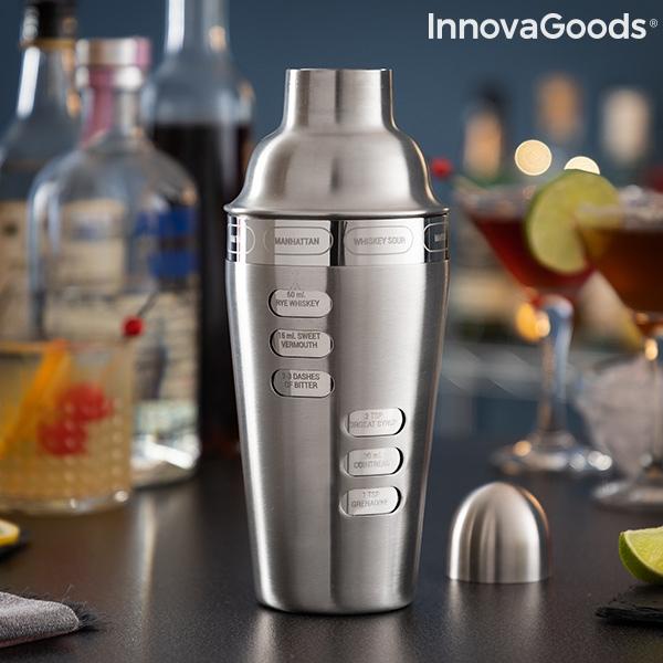 cocktail shaker with integrated recipes maxer innovagoods 118527