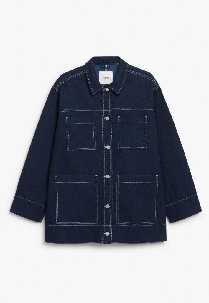 lång jeansjacka blå