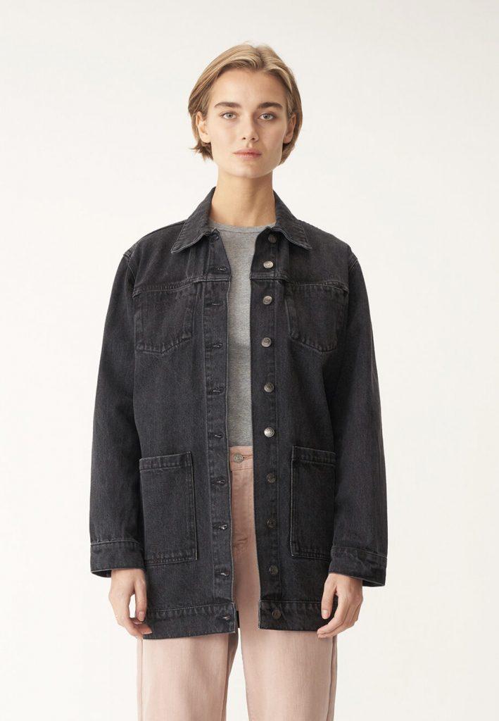 lång svart jeansjacka dam