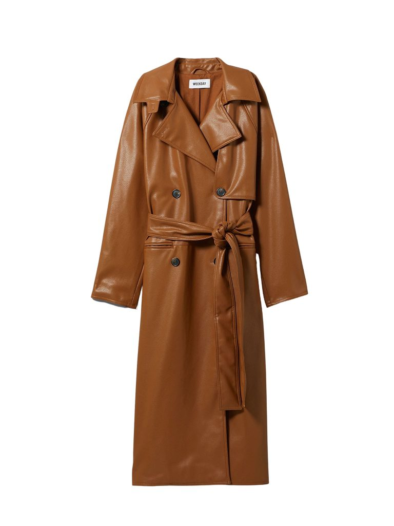 trenchcoat lader brun
