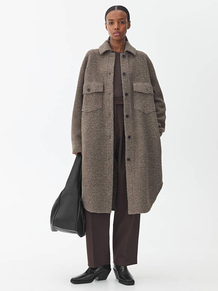 lång skjortjacka brun