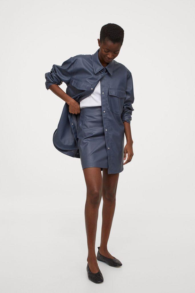 skjortjacka läderimitation hm
