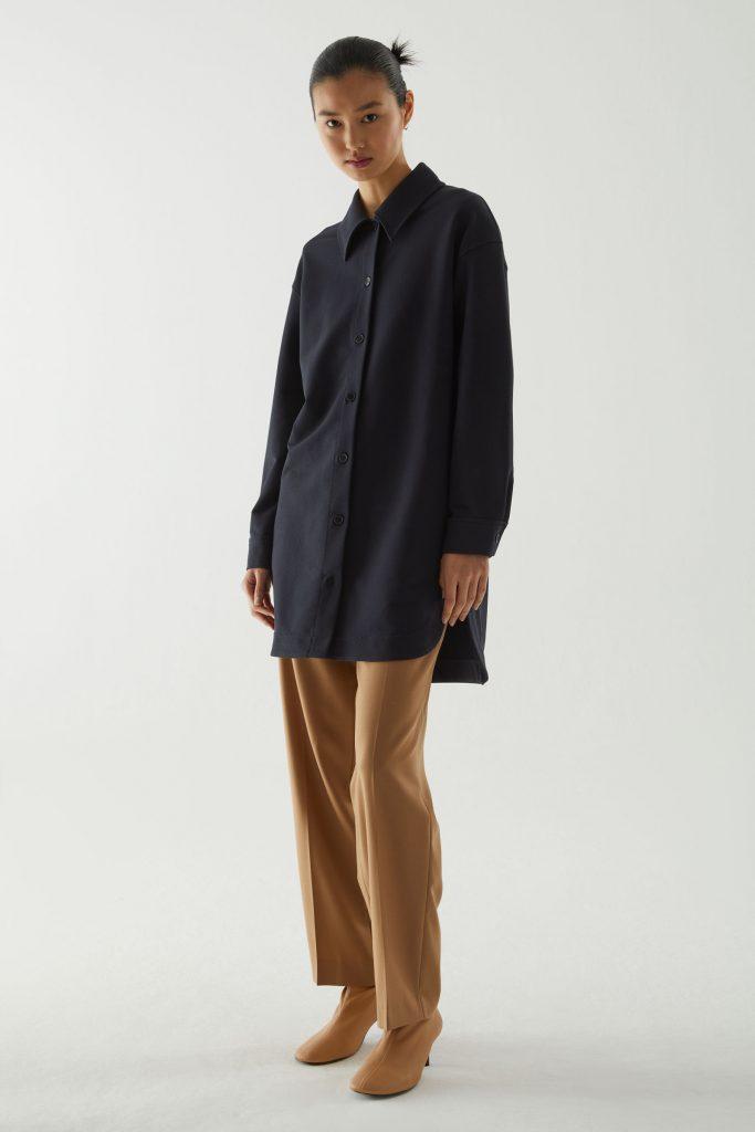 skjortjacka lång mörkblå