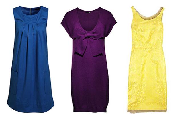 7b4c9be29723 Från vänster: Knallblå klänning med fickor, 198 kr, och lila finstickad  klänning med söt rosett fram, båda kommer från H&M. Gula, skimrande  fodralen (som ...